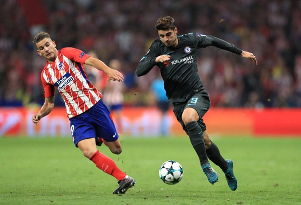 9ce86fa41d1 Atletico Madrid s Lucas Hernandez (left) and Chelsea s Alvaro Morata in  action